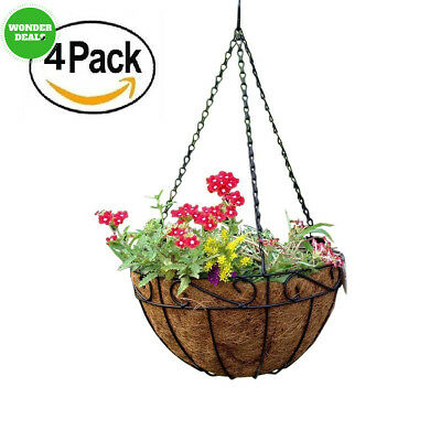 Amagabeli 4 Pack Metal Hanging Planter Basket with Coco Coir Liner 14 inch...