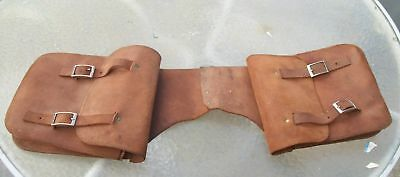 Vintage Mustang Brass & Brown Leather Suede Motorcycle Horse Saddle Bags