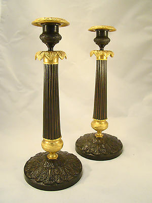 Superb Pair of Antique French Ormolu Bronze Brass Louis XVI Candlesticks 18th.C.