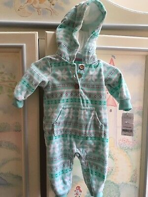 CARTERS baby Girl hooded fleece one pc cover all NWOT 3 months  NWT