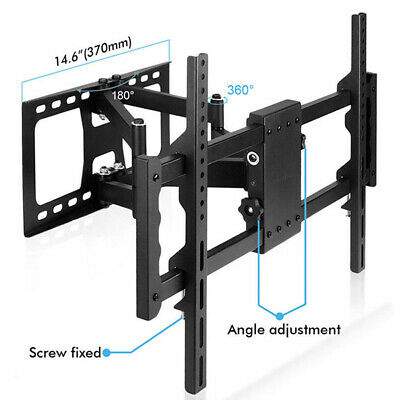 "SPCC Steel Large Flat TV Wall Mount Stand 42-85"" Tilt Swivel Dual Cantilever Arm"