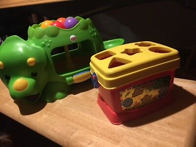 Fisher Price Toddler Toy Lot Interactive Double-Poppin Dino & Shape Sorter