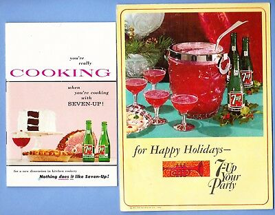 Lot of 2 booklets 1964 Happy Holidays 7 Up Your Party &  Cooking cr 1957 recipes