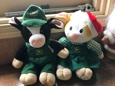 Boy and Girl John Deere CHRISTMAS Cows by Mary's MOO MOOS  1999 plus mooing cow