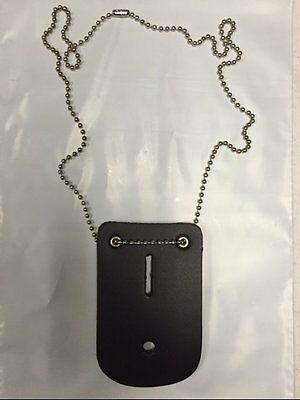 POLICE DETECTIVE LEATHER BADGE HOLDER with NECK CHAIN SECURITY GUARD EMT EMS