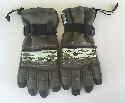 Thinsulate Gloves Youth Camo Green & Black Boys Waterproof 40 Gram Size 8-16 VGC