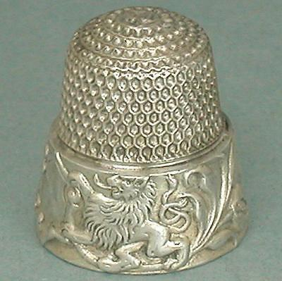 Antique Sterling Silver Rampant Lions Band Thimble by Untermeyer-Robbins * C1890