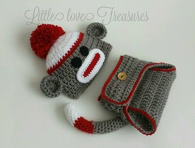 Crochet Baby Teddy Bear Hat Diaper Cover Newborn 3 Mo Photo Prop