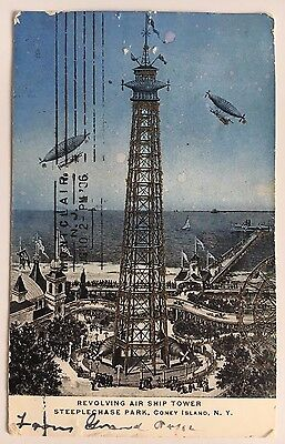 1906 NYC Postcard Revolving Air Ship Steeplechase Park Coney Island New York