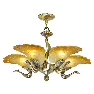 Art Deco Style Vintage French Peacock 5-Light Slip Shade Chandelier (ANT-852)