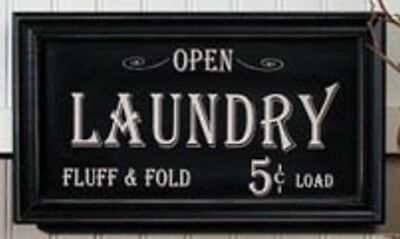 Vintage Laundry Sign Primitive Distressed Frame Country Antique NEW Black