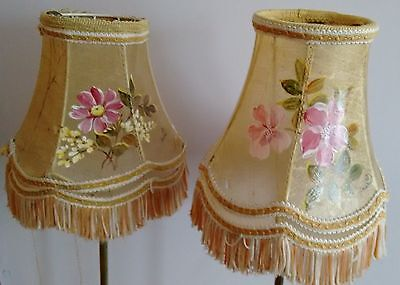 Antique French Pair of Hand Painted Floral Parchment lamp shades - stunning rare