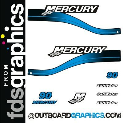 Mercury 90hp two stroke Saltwater series outboard decals/sticker kit