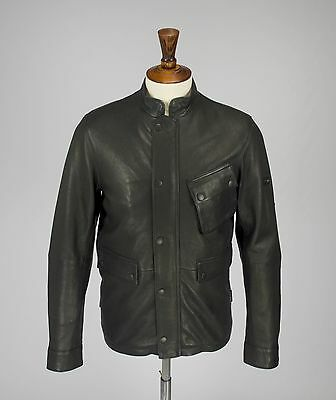 Barbour International 'Louston' Black Leather Jacket, Size M, New With Tags