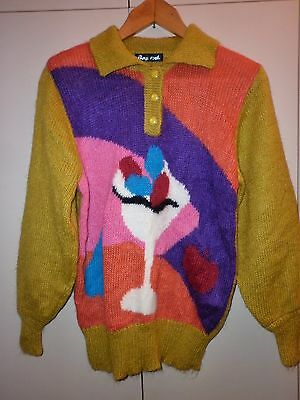Vintage  Bright Wool  Knit Jumper  Size M  Excellent Condition