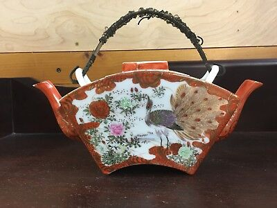 VERY DIFFERENT Antique Japanese TeApot SIGNED KUTANI WITH 2 SPOUTS PEACOCK BIRDS