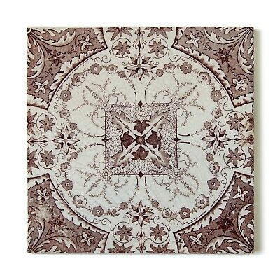Antique Tile Victorian Aesthetic Rococo Edwardian Floral Delicate Brown White