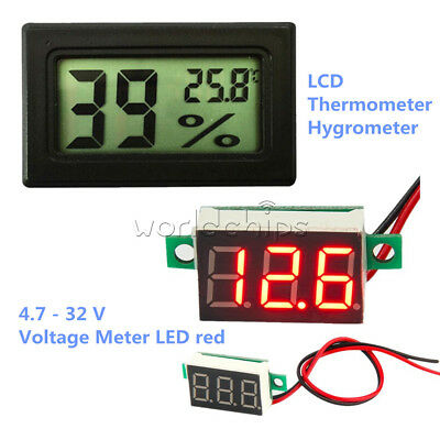 Digital LCD Humidity Temperature Hygrometer Thermometer Red LED Voltage Meter