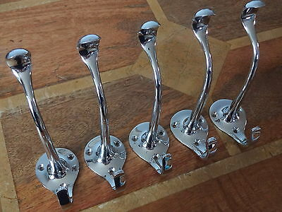 5 X Large Chrome Art Nouveau Coat ⭐️⭐️⭐️⭐️⭐ Hooks