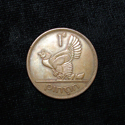 Penny Ireland 1964 Bronze Coin Irish Harp Hen with Chicks Eire One Pence