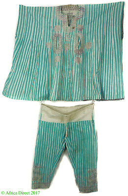 Hausa Grand Boubou Outfit Embroidered Blue Stripes Nigeria African Art