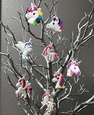 Unicorn Christmas Tree Ornament Set Of 8, Small Fun Colorful Magical Unicorns
