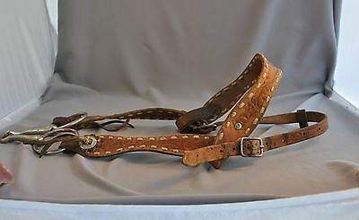 Old Vintage Leather Horse Halter Headstall -  Hand Stiched , Tooled With Design