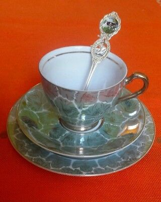 Vintage fine china trio tea cup & saucer set made in Japan no. 766 iridescent