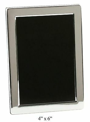 "Silver Plated Contemporary 4"" x 6"" Photo Frame By Haysom Interiors New"