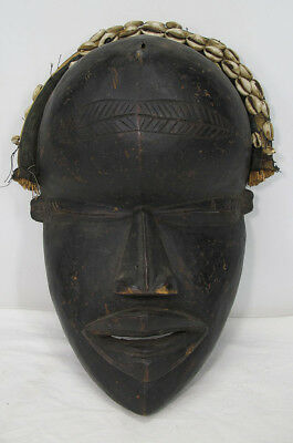 Vintage African Dan Tribe Côte d'Ivoire Carved Cowrie Shell & Wood Mask NR yqz