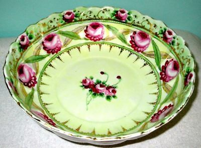 """Antique Large 10"""" Stunning Hand Painted Centerpiece Bowl 19th Century"""