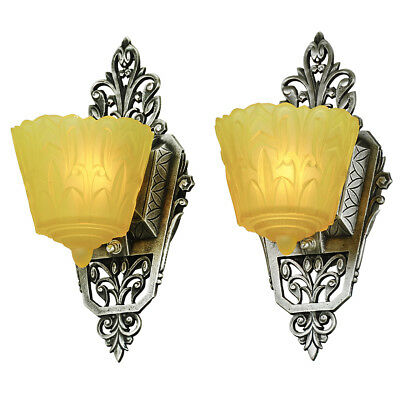 Slip Shade Sconces Pair of Antique Art Deco Wall Lights by Lincoln (ANT-877)