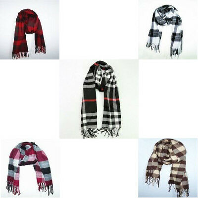 Classic Grid Plaid Scarves Neckerchief Wool Spinning with Tassels For Unisex