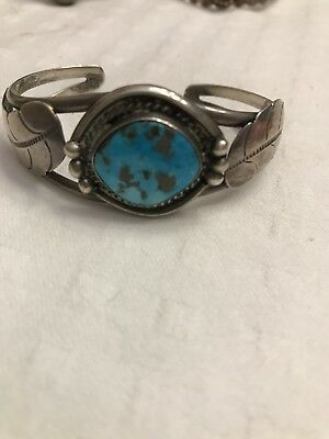 Vintage Sterling Silver and Turquoise Ladies Cuff Bracelet Natural Beauty Leaf