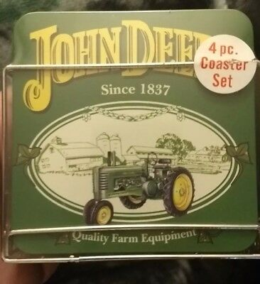 John Deere Coaster Set With Metal/Chrome Holder Set of 4