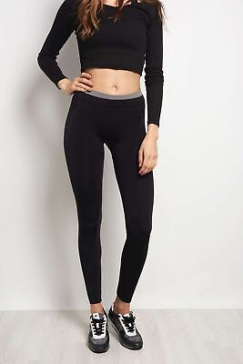 (TG. Large) Sale Seamless leggings, donna, How004, Black, L (R0I)
