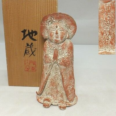 D177: Japanese pottery statue of guardian deity of children JIZO with signed box