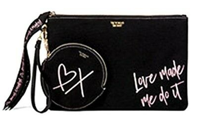 "Victoria's Secret ""Love Made Me Do It"" Beauty Bag + Small Case NEW Black NWT"