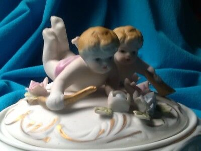 Vintage Porcelain CHERUBS ANGELS Covered Bowl Roses Music Instrument MidCentury
