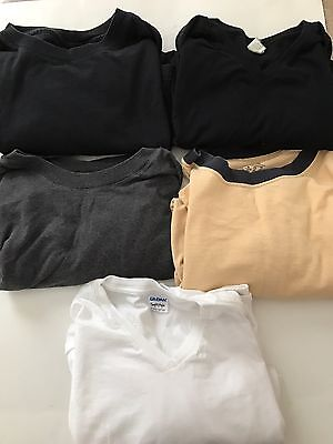 Men's Lot Of Five Basic Solid Color T-Shirts Black White Grey Yellow Large