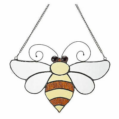 """Tiffany-Style 12"""" Bumblebee Stained Glass Window Panel w/ Hanging Chain"""