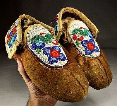 Antique Native American Northern Plains Indians Beaded Moccasins Beadwork