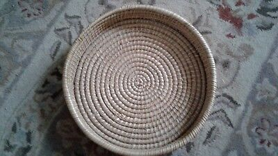 "Gullah sweet sea grass basket Charleston SC 11"" fruit serving bread vintage pine"