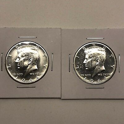 1964 50C Lot of Two Proof Silver Kennedy Half Dollars: Impaired