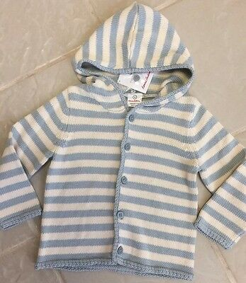 New Hanna Andersson Baby Blue Striped Hoodie Cardigan Sweater sz 90 (2-3.5 yr)