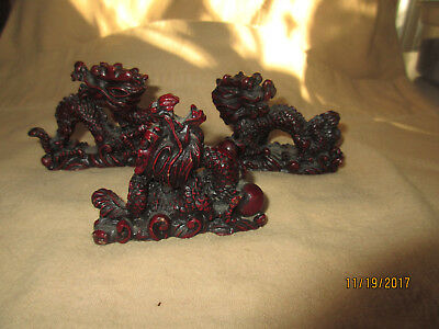 Three Carved Red Dragon - 2 Inch