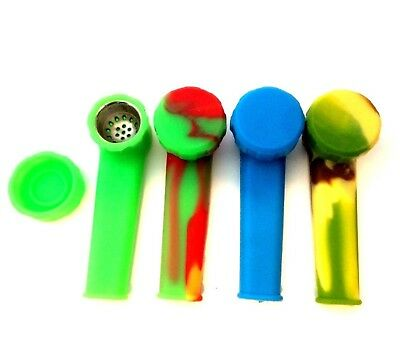 """3.5"""" Silicone Tobacco Hand Smoking Pipe, Glass Stone Alt., Buy 2 Get 1 Free"""