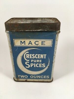 Vintage Crescent Pure Spices Spice Tin Mace 2 Oz. Can with Product Seattle WA