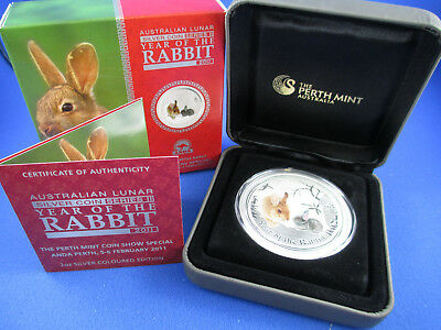 2011 Year of the RABBIT 2oz Silver Coloured Coin. ANDA Show. NUMBERED 73 SUPERB!