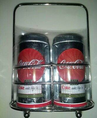 New Coca-Cola Tin Salt And Pepper Shakers With Caddy Holder, Brand New Coke
